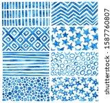 set of blue watercolor textures....   Shutterstock . vector #1587760807