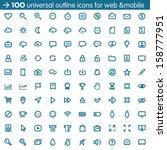 set of 100 universal outline... | Shutterstock .eps vector #158777951
