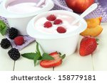 delicious yogurt with fruit and ... | Shutterstock . vector #158779181