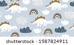 hand drawn cute dinosaurs... | Shutterstock .eps vector #1587824911