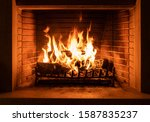 Fireplace Burning With Firewood ...