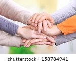 human hands on bright background | Shutterstock . vector #158784941