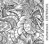 tracery seamless pattern.... | Shutterstock .eps vector #1587856141