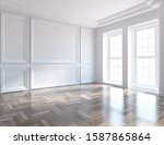 white empty room interior with... | Shutterstock . vector #1587865864