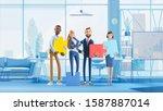 business teamwork concept on... | Shutterstock . vector #1587887014