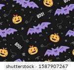 cute seamless halloween pattern ... | Shutterstock .eps vector #1587907267