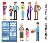 set of people with dairy... | Shutterstock .eps vector #1587961537