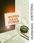 Small photo of Writing note showing Words Have Power. Business photo showcasing Energy Ability to heal help hinder humble and humiliate Note paper taped to black computer screen near keyboard and stationary.