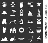beach icons on black background ... | Shutterstock .eps vector #158801411