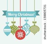 merry christmas  over blue... | Shutterstock .eps vector #158805731