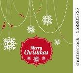 merry christmas  over green... | Shutterstock .eps vector #158805737