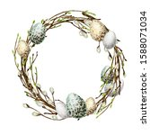 Watercolor Spring Easter Wreath....