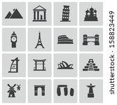 vector black landmark icons set | Shutterstock .eps vector #158823449