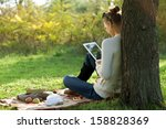 distance education. sitting... | Shutterstock . vector #158828369