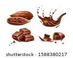 realistic chocolate splash ...   Shutterstock .eps vector #1588380217