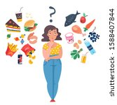fat woman choosing between... | Shutterstock .eps vector #1588407844