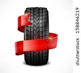black rubber tire   ribbon on... | Shutterstock .eps vector #158846219