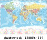 world map political and flags   ... | Shutterstock .eps vector #1588564864