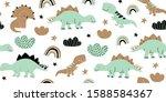 Hand Drawn Cute Dinosaurs...