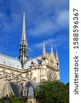 church notre dame de paris with ... | Shutterstock . vector #1588596367