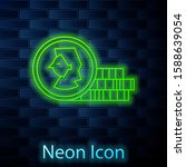 glowing neon line coin for game ...