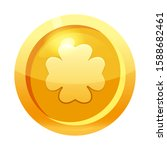 game coin gold with clover leaf ...