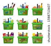 shopping baskets with groceries.... | Shutterstock .eps vector #1588713607