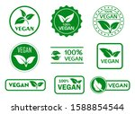 set of vegan signs or green... | Shutterstock .eps vector #1588854544