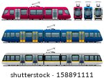modern tram.  pixel optimized.... | Shutterstock .eps vector #158891111