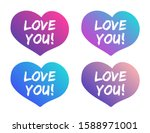 love you lettering on hearts...