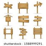 cartoon wooden signposts. wood... | Shutterstock .eps vector #1588999291