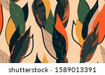 modern exotic jungle plants... | Shutterstock .eps vector #1589013391