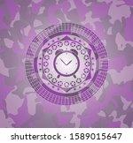 alarm clock icon on pink camo... | Shutterstock .eps vector #1589015647