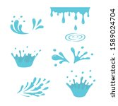 water and drop icons. blue... | Shutterstock .eps vector #1589024704