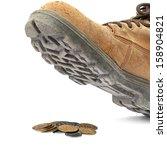 boot steps on a israeli coins... | Shutterstock . vector #158904821