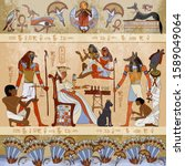murals ancient egypt scene.... | Shutterstock .eps vector #1589049064