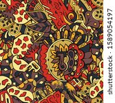 tracery seamless pattern.... | Shutterstock .eps vector #1589054197