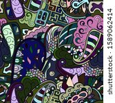 tracery seamless pattern.... | Shutterstock .eps vector #1589062414