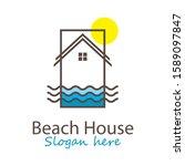 Beach House Logo Vector Template