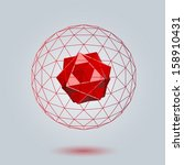 red geometric background 3d... | Shutterstock .eps vector #158910431