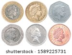 Set Of Uk Coins With A Portrai...