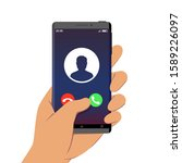 incoming call on smartphone... | Shutterstock .eps vector #1589226097