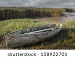 Old Decaying Wooden Rowing Boat