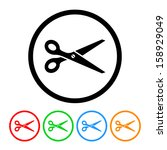 scissors icon with color...   Shutterstock .eps vector #158929049