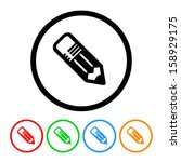school pencil icon with color... | Shutterstock .eps vector #158929175