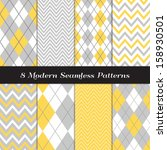 gray  yellow and white argyle... | Shutterstock .eps vector #158930501