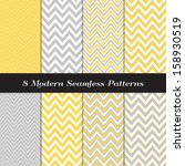 Gray, Yellow and White Thick and Thin Chevron  Patterns. Blog Background in Pastel Colors. Pattern Swatches included and made with Global Colors. | Shutterstock vector #158930519