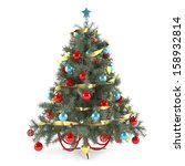 christmas tree with gold... | Shutterstock . vector #158932814