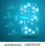 human head with social network... | Shutterstock .eps vector #158939105