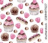 hand drawn watercolor pattern...   Shutterstock . vector #1589497027